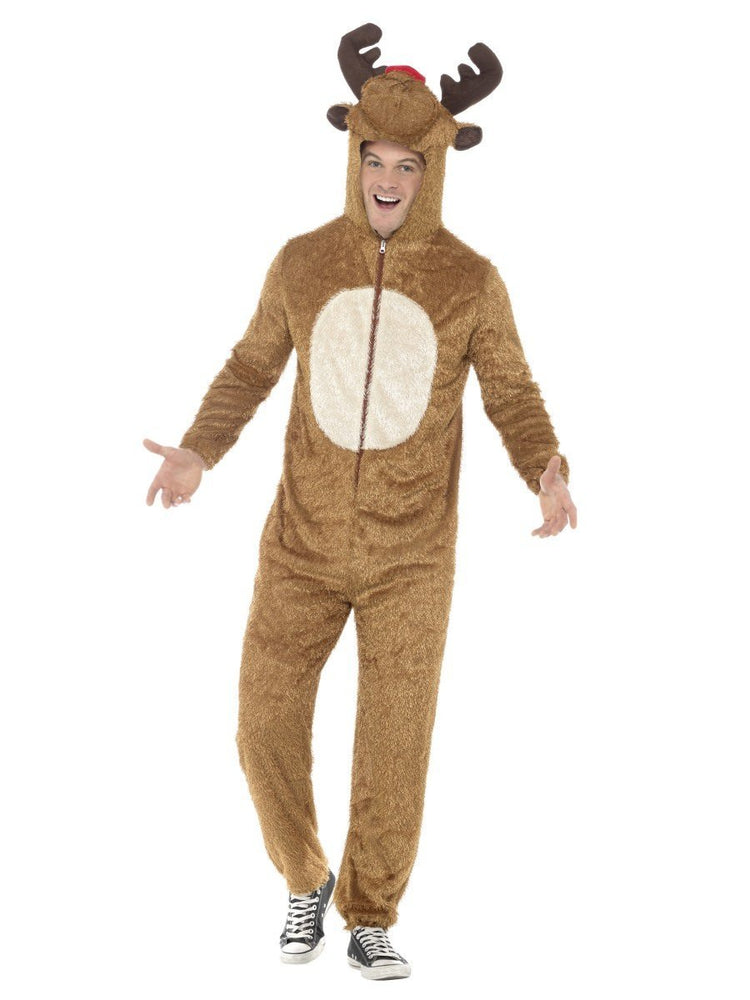 Smiffys Reindeer Costume, Brown, with Hooded Jumpsuit - 31668