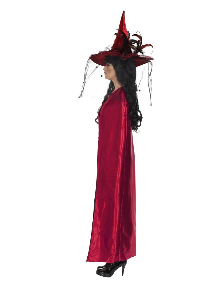 Deluxe Reversible Witches Cape Red & Black