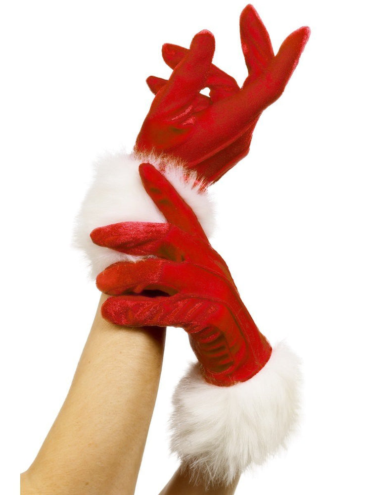 Ladies Santa Short Gloves W/ Fur