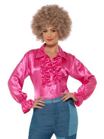 Smiffys Satin Ruffle Shirt, Ladies, Pink - 43071