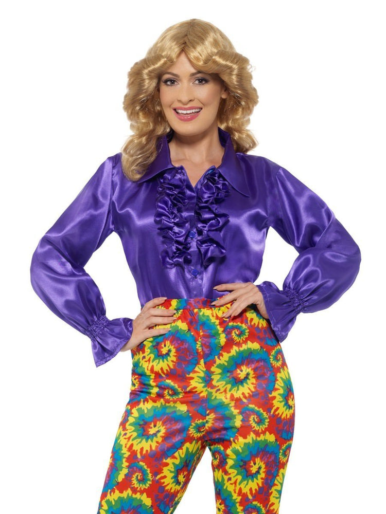 Smiffys Satin Ruffle Shirt, Ladies, Purple - 43070