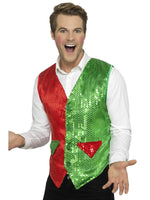 Sequin Elf Waistcoat Red and Green