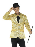Smiffys Sequin Jacket, Mens, Gold - 21163