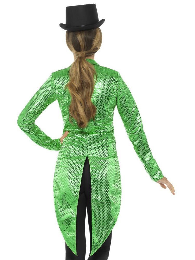 Sequin Tailcoat Jacket, Green