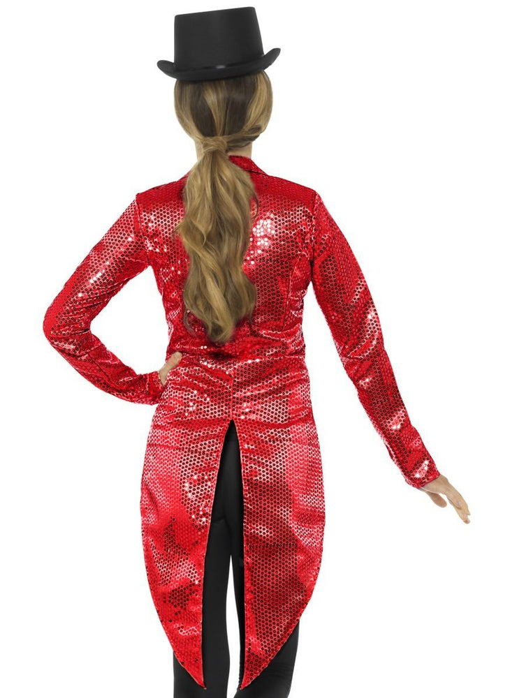 Sequin Tailcoat Jacket, Red