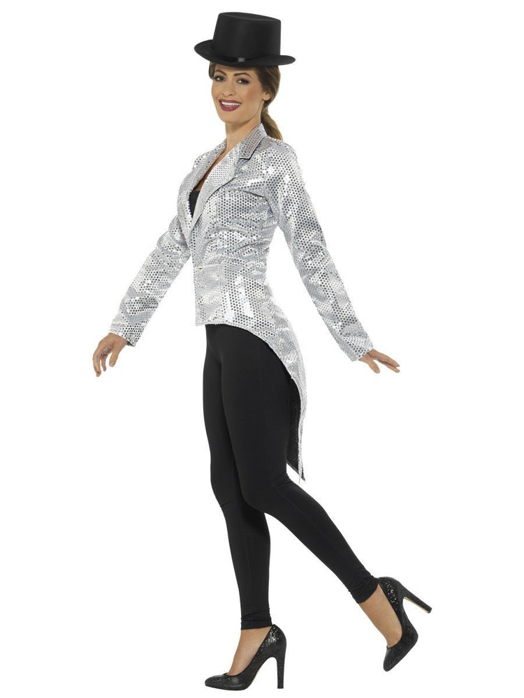 Sequin Tailcoat Jacket, Silver