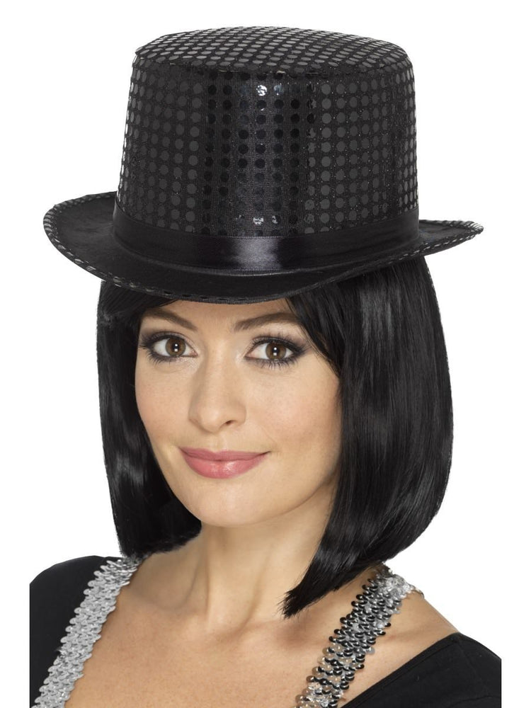 Sequin Top Hat, Black