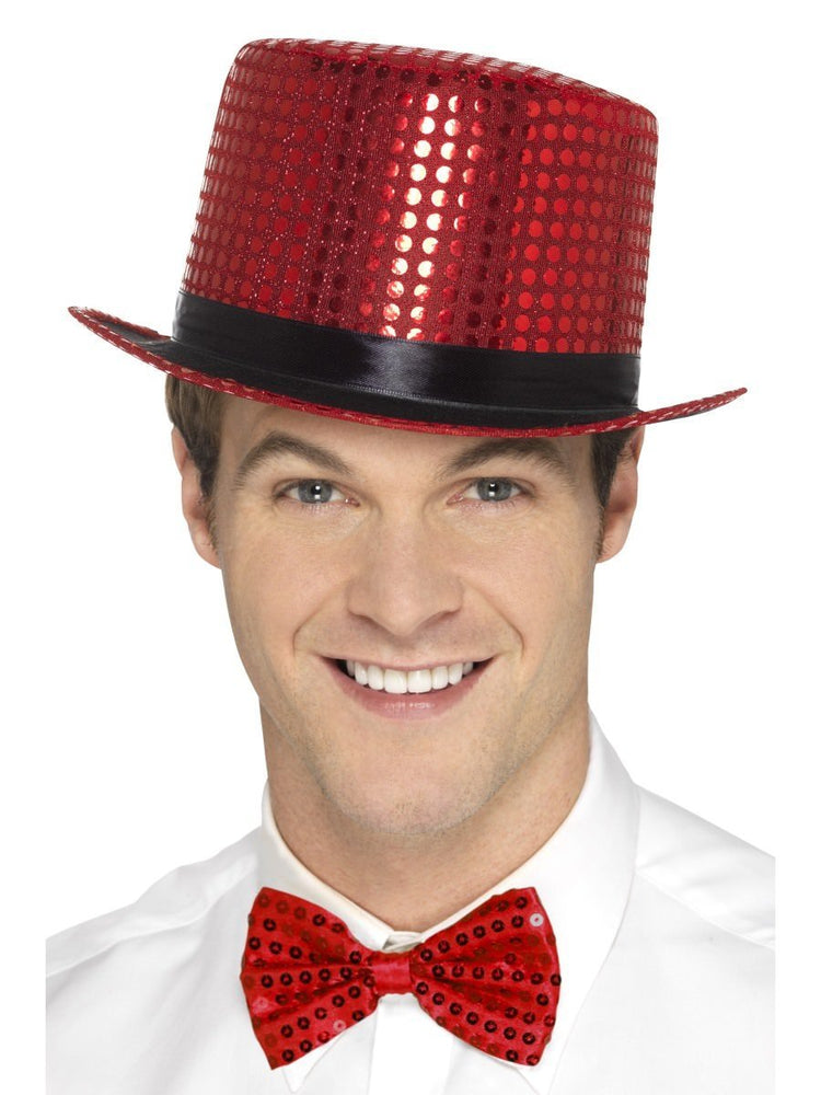 Sequin Top Hat, Red