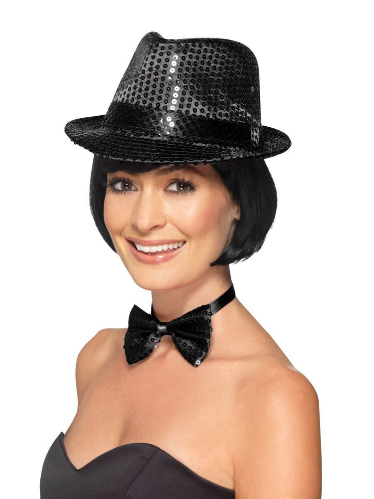 Sequin Trilby Hat, Black
