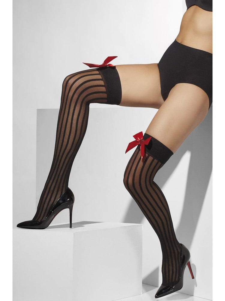 Striped Sheer Hold Ups, Black With Red Bow