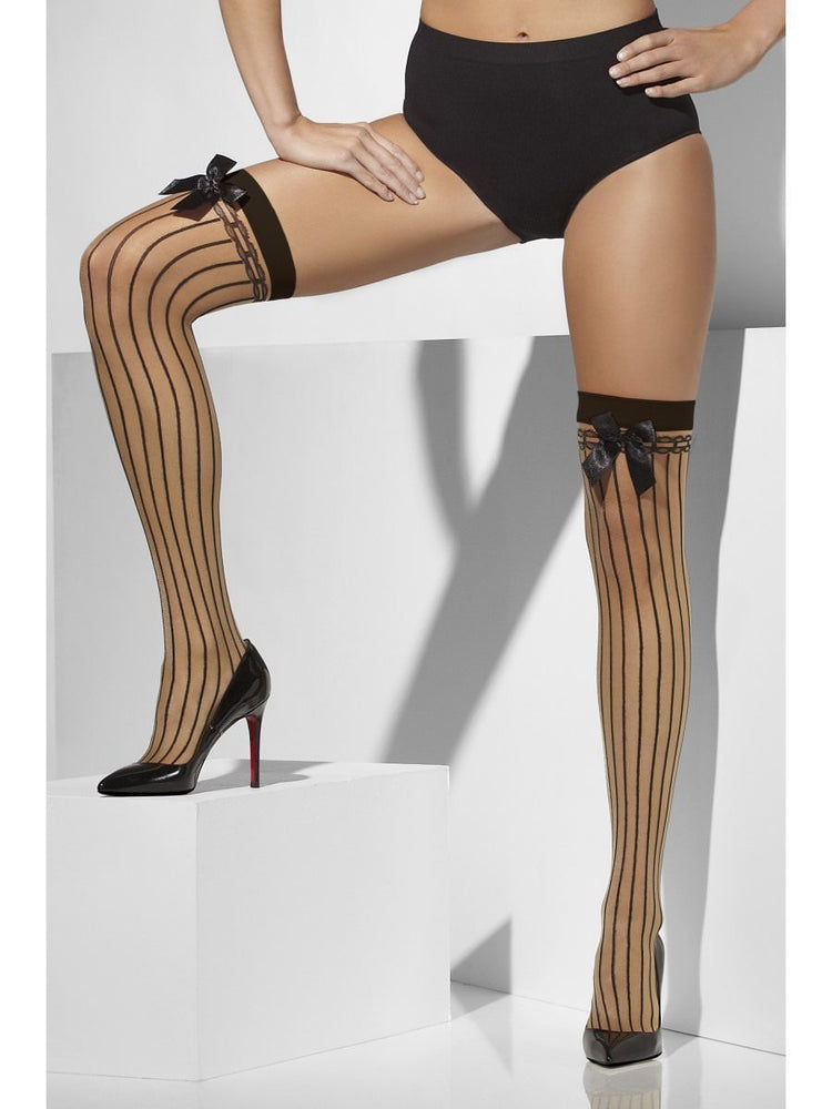 Sheer Hold Ups with Stripes & Bow