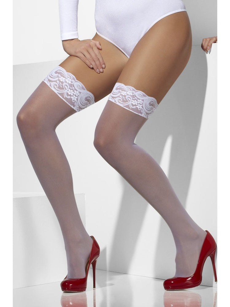 Sheer Hold-Ups, White, Lace Tops