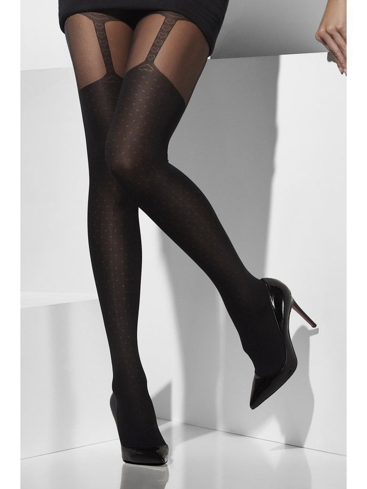 Black Tights with Suspender Print