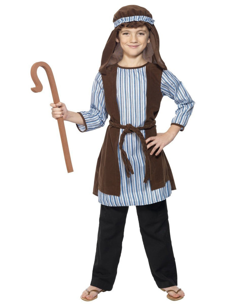 Smiffys Shepherd Costume, Child, Blue & Brown - 33166