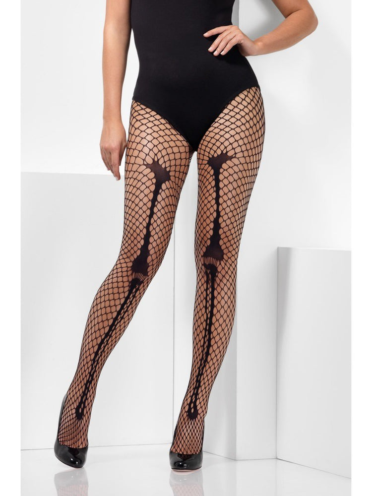 Smiffys Skeleton Bone Net Tights - 44794