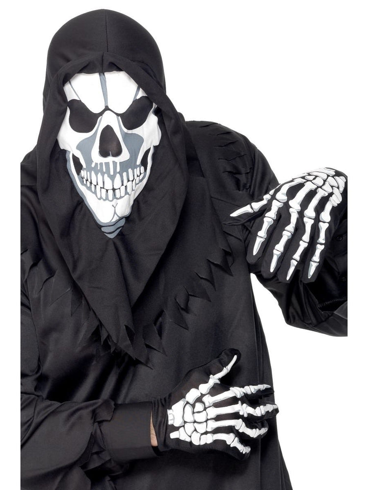 Skull Hood Mask And Gloves, White