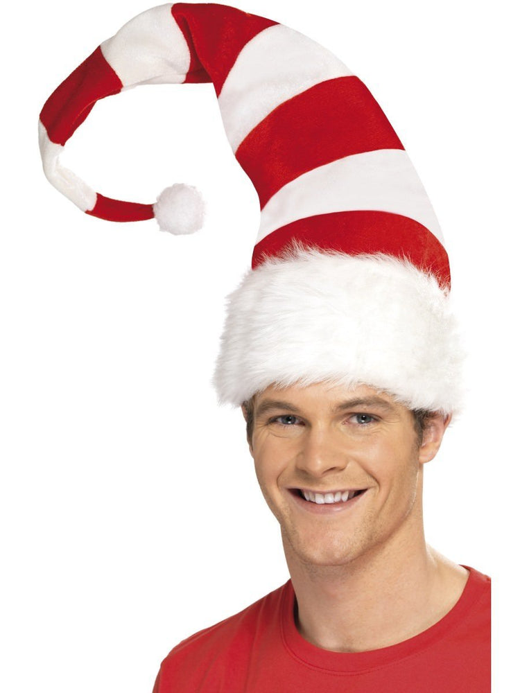 Santa Red & White Striped Hat
