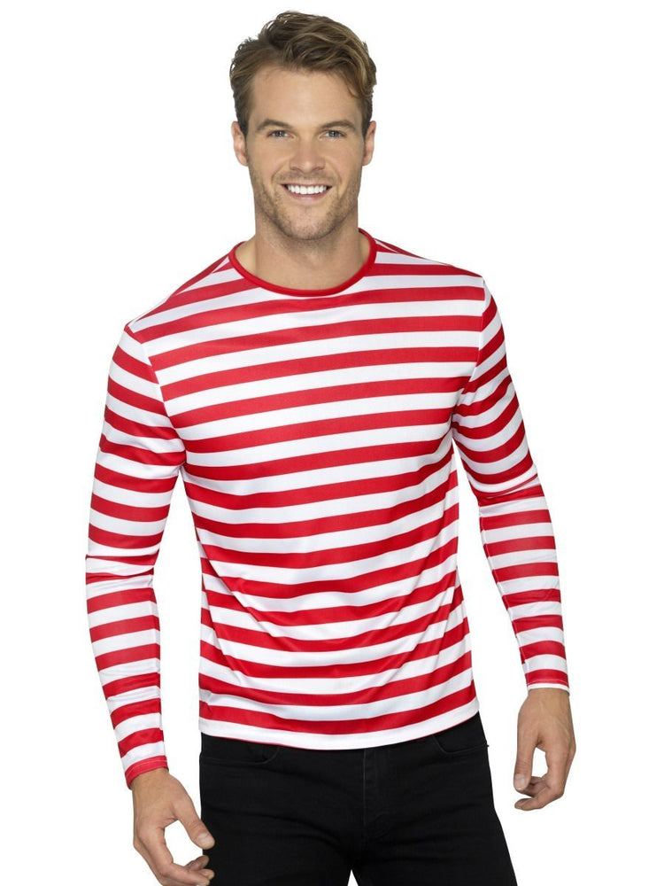 Smiffys Stripy T-Shirt, Red - 46830