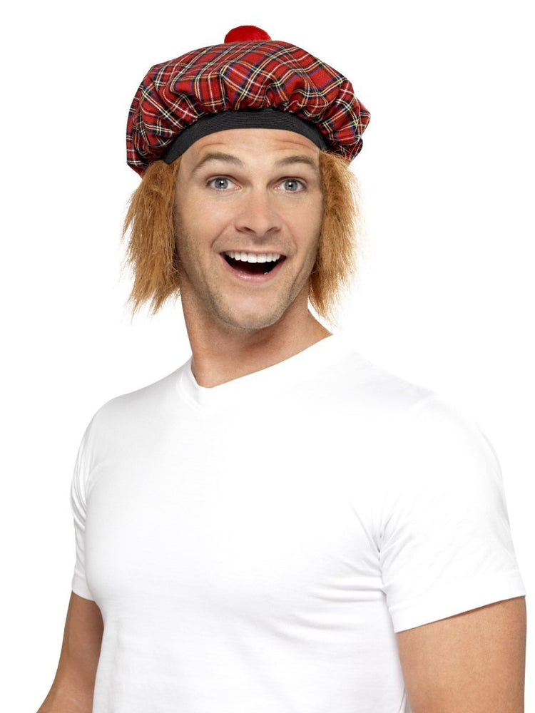 Tam-O-Shanter Tartan Hat, Red, with Hair and Pom Pom