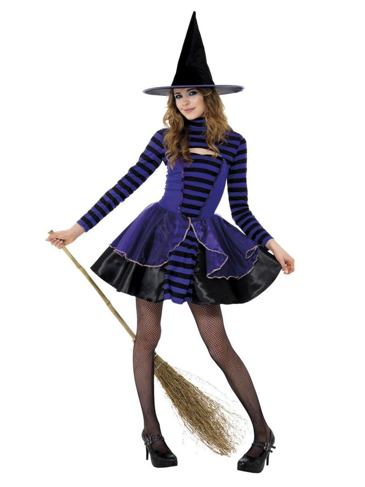 Smiffys Teen Stripe Dark Fairy Costume, Purple & Black - 21413