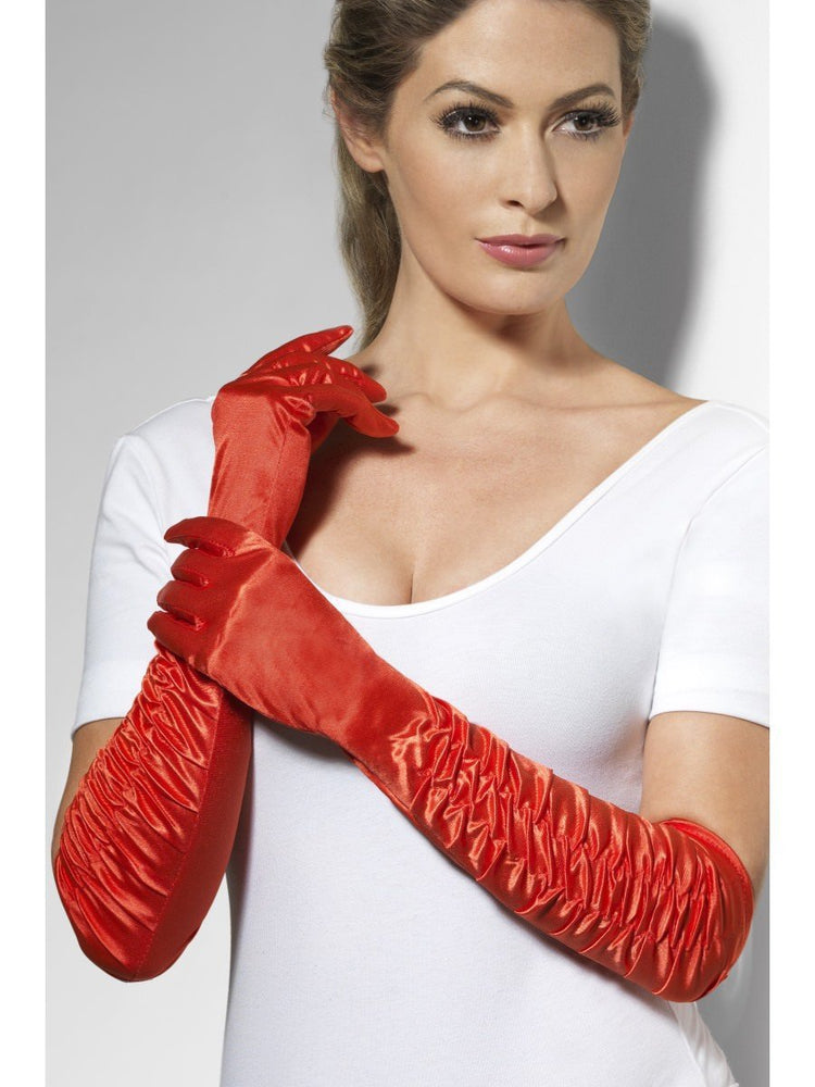 Red Gloves Long Ruched