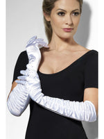 Gloves Long Velvet White