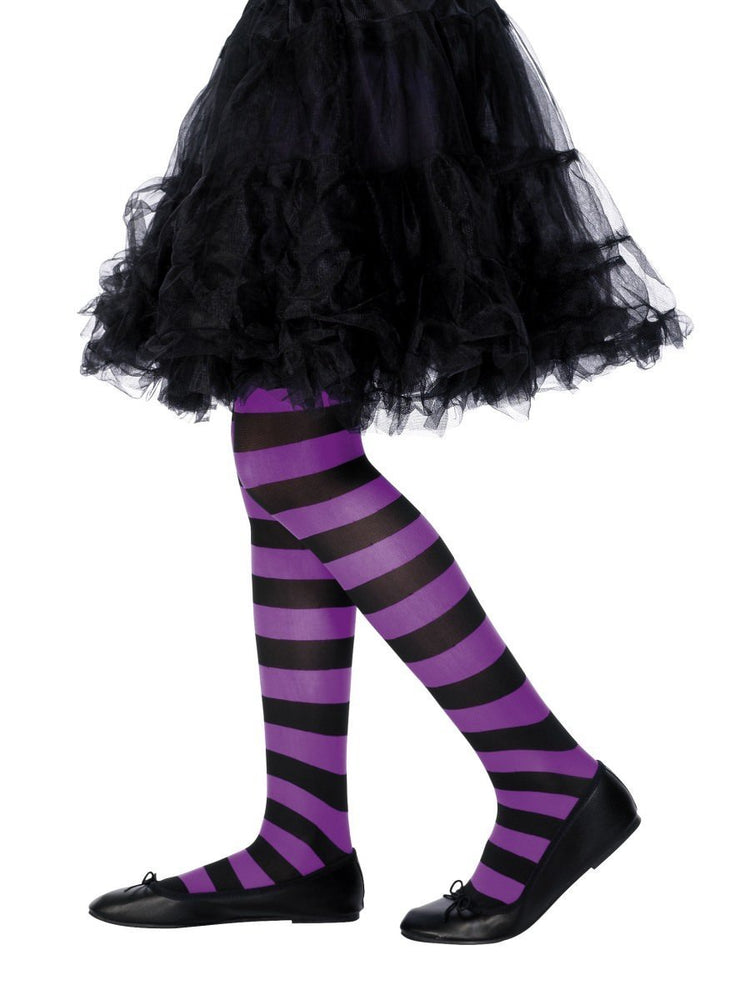 Tights Striped, Purple & Black