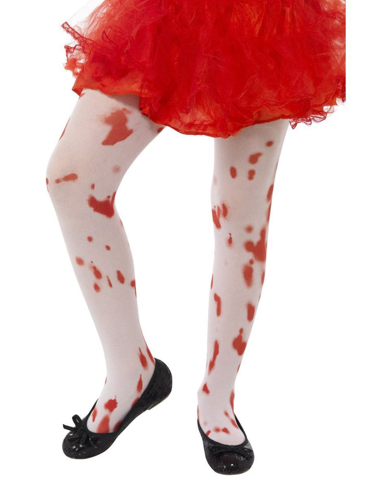 White Tights with Blood Stain Print, Age 6-12