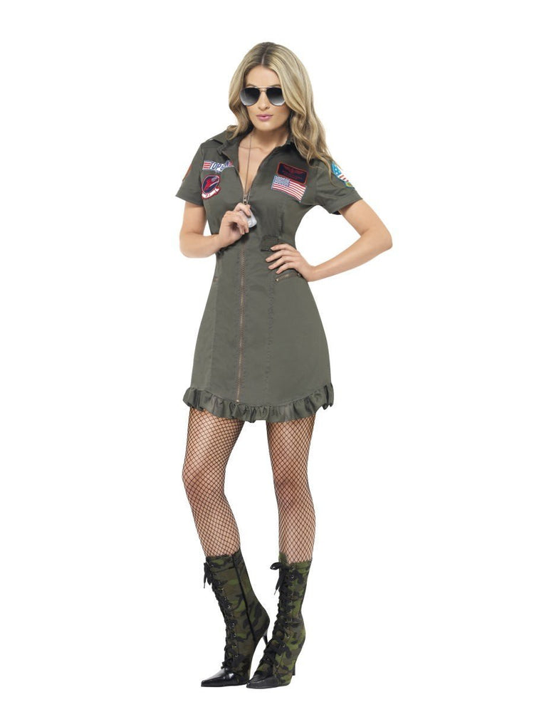Top Gun Female Costume,Deluxe