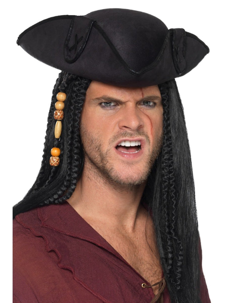 Smiffys Tricorn Pirate Captain Hat, Black - 40380