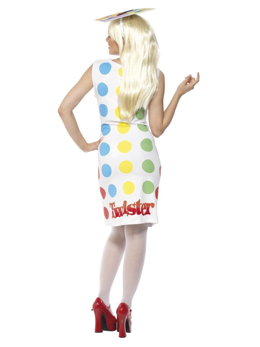 80/'s Female Twister Dress Ladies Fancy Dress Costume Retro Womens Size 8-18