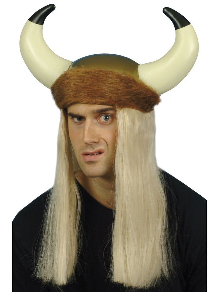 Viking Helmet blonde hair & fur trim
