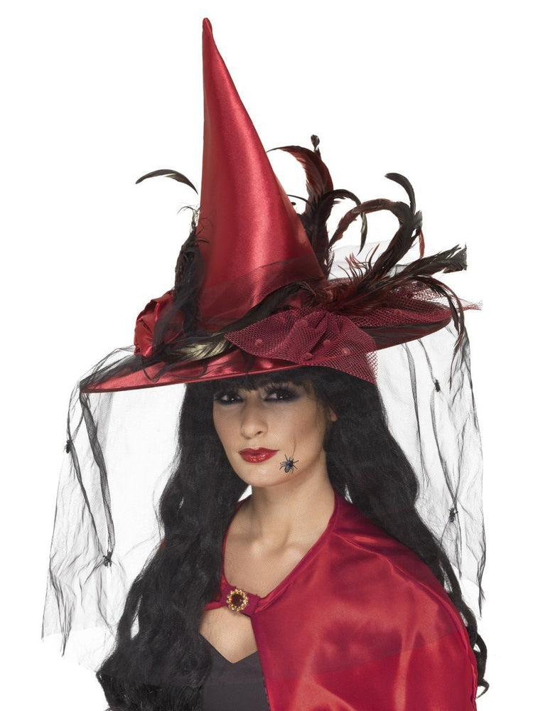 Smiffys Witch Hat, Deep Red - 36720