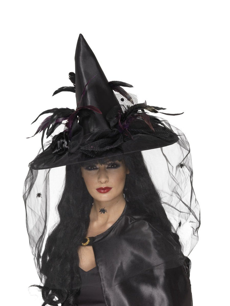 Black Witch Hat with Netting