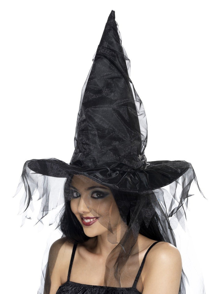 Black Long Net Hair Witch Hat