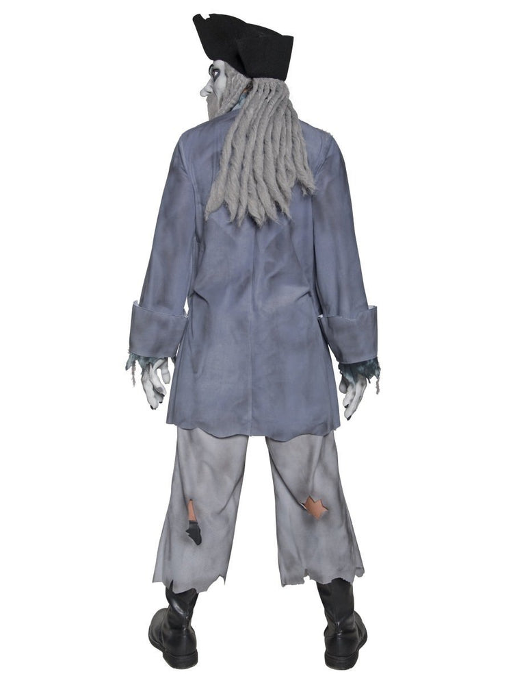 Deluxe Zombie Ghost Pirate Costume, Top, Trousers - M