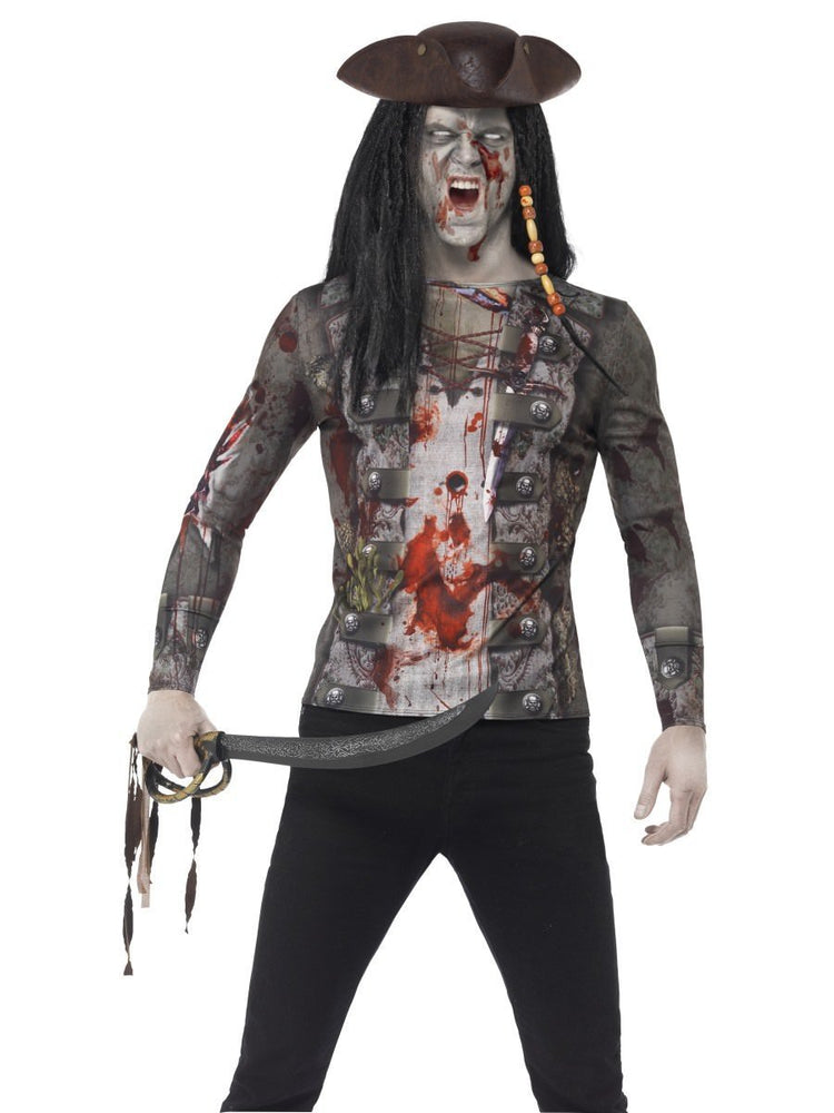 Smiffys Zombie Pirate T-Shirt Adult Men's - 45564