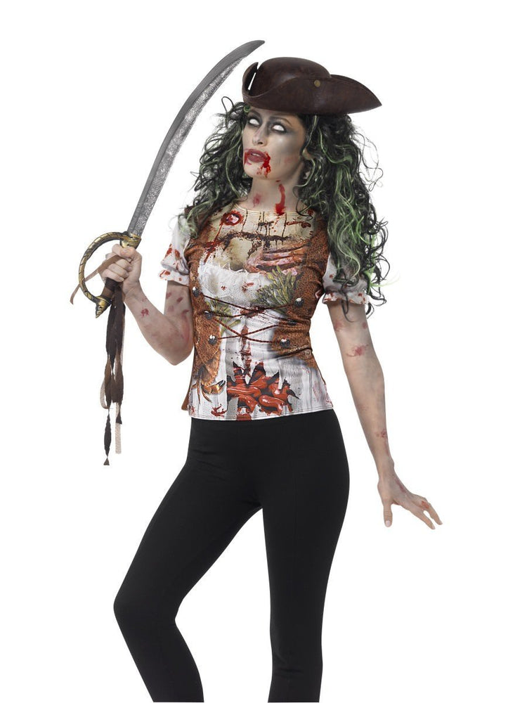 Smiffys Zombie Pirate Wench T-Shirt Adult Women's - 45565