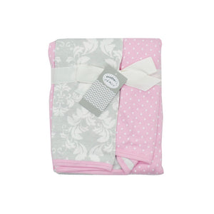 Knitted 2 Pack Pink and White Cotton Baby Wraps