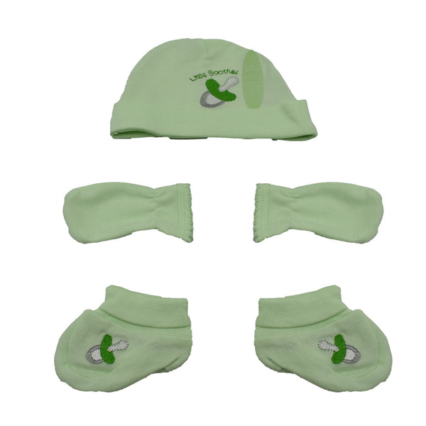 3 Piece Cotton Set- Hat, Mittens and Booties