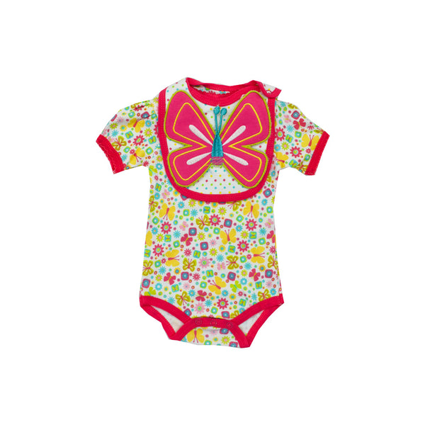 Baby Romper with 3D Butterfly Bib