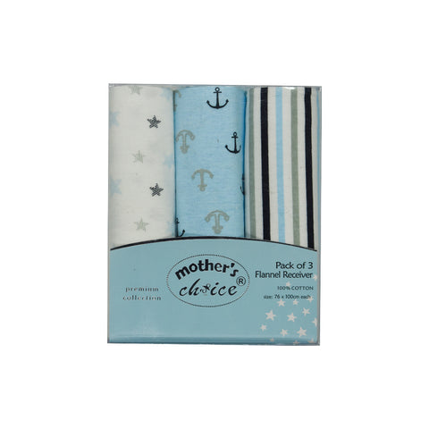 3 Pack Sailor Print Flannel Receivers