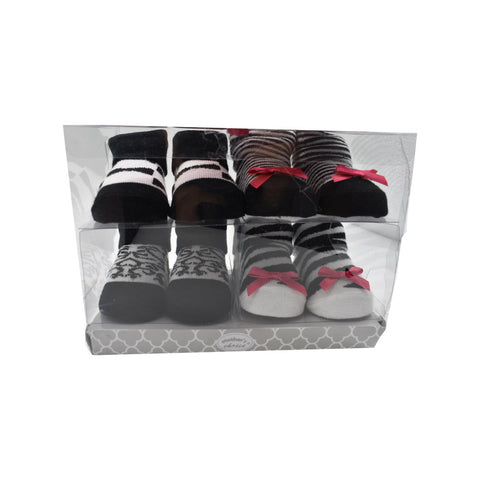 4 Pack Black Baby Socks In Gift Pack