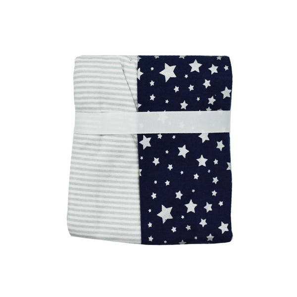 Knitted 2 Pack Blue and White Cotton Baby Wraps