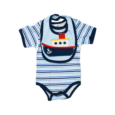 Romper With 3D Ship Bib