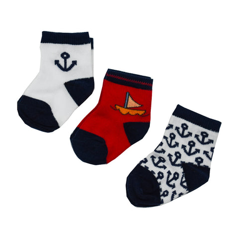 3 Pack Boy's Socks - Sailor Print