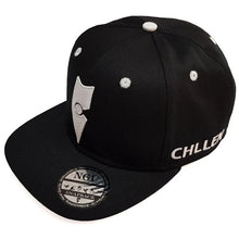 Load image into Gallery viewer, black white snapback hat cap chllen lifestyle wear chillen clothing chillin apparel