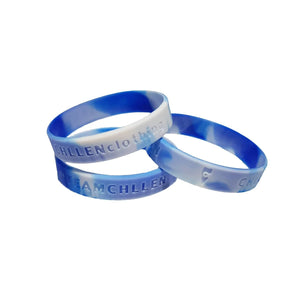 chillen chllen lifestyle wear blue-white silicone wrist band marble