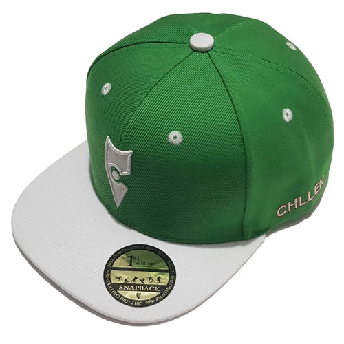 chillen chllen lifestyle wear green-white snapback hat 1st edition