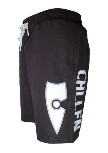 chillen chllen lifestyle wear kids black-white board shorts boardies